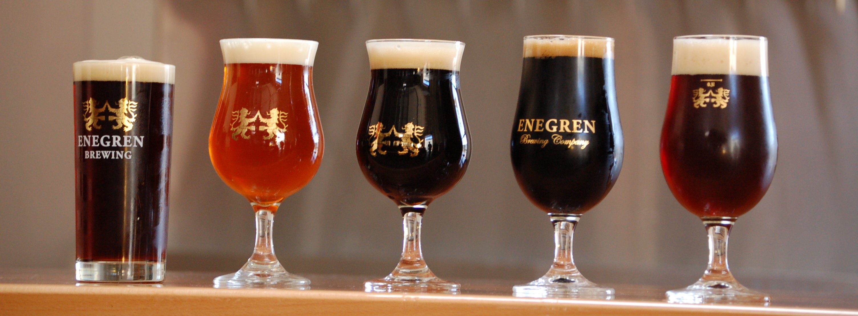 Five Enegren Beers on Bar